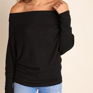 Black Off the Shoulder Wafflle Slouchy Sweater Top